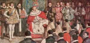 King James and Puritans at the Hampton Court Conference 1604