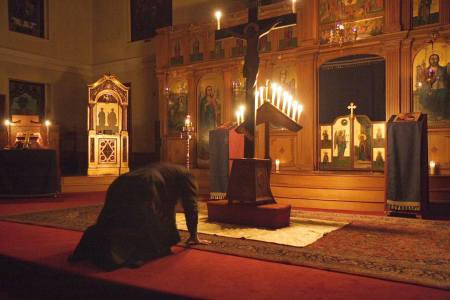 Holy Thursday Service at St. Mary Orthodox Church in Cambridge, MA.