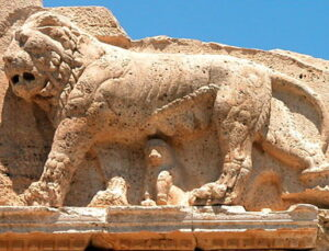 Carving of Lioness on Hyrcanus Palace