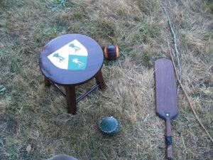 Stoolball equipment from modern day reenactment event.