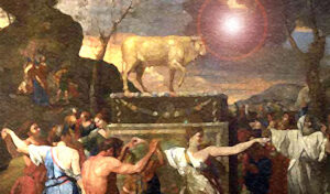In the Old Testament, images of God were forbidden, because they misrepresented Him. God is not a cow. And God did not yet have any physical body.