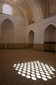 Muslims reject the Incarnation. Therefore, this mosque has bare walls and no images of God.
