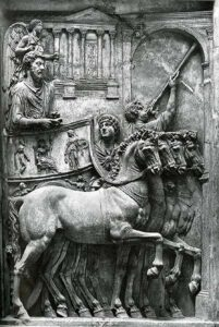 Marcus Aurelius shown in a four horse chariot