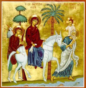 Joseph Carrying Jesus, Mary on the horse, and James the Brother of the Lord.